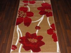 Modern Rugs Approx 5x2ft6 80cmx150cm Woven Thick best around Beige/Red Poppy New